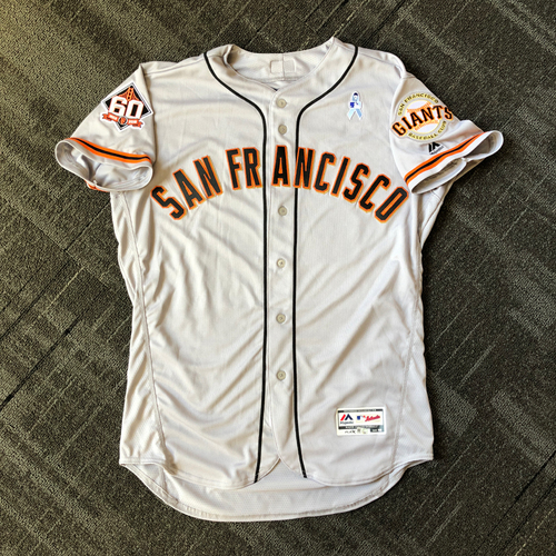 Photo of San Francisco Giants - Game Used Father's Day Blue Ribbon Jersey - Mystery Player/Coach (size 48)