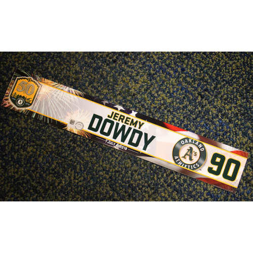 Photo of Oakland Athletics Jeremy Dowdy Team-Issued 4th of July 2018 Locker Nameplate