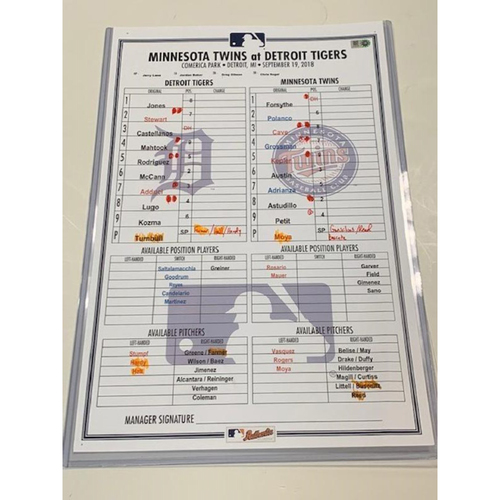 Photo of Game-Used Line-Up Card: Spencer Turnbull 1st MLB Start