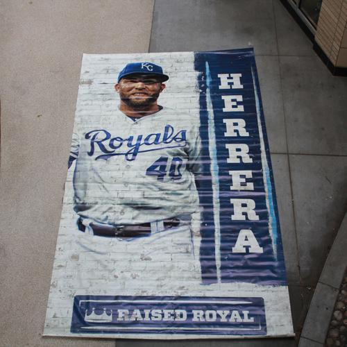 Photo of Extra Large Team-Issued Banner: Kelvin Herrera Raised Royal