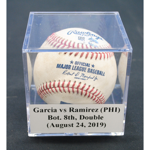 Photo of Game-Used Baseball: Edgar Garcia (PHI) vs Harold Ramirez, Bot. 8th, Double - August 24, 2019
