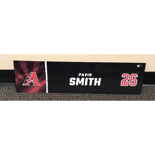 Photo of Pavin Smith 2020 Season Game-Used Locker Name Plate