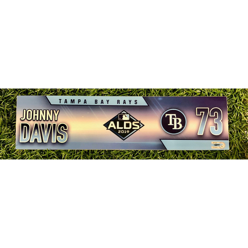 Photo of Rays Baseball Foundation: Team Issued Locker Tag: Johnny Davis - ALDS - Authenticated on October 4, 5 and 10, 2019 at HOU