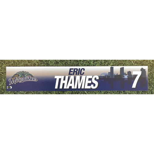 Photo of Eric Thames 2017 Game-Used Locker Nameplate
