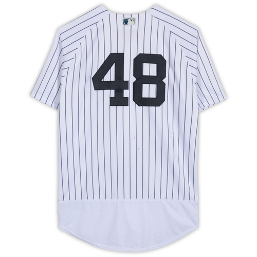 Photo of Tommy Kahnle New York Yankees Game-Used #48 White Pinstripe Jersey vs. Tampa Bay Rays on April 3, 2018 - Size 48