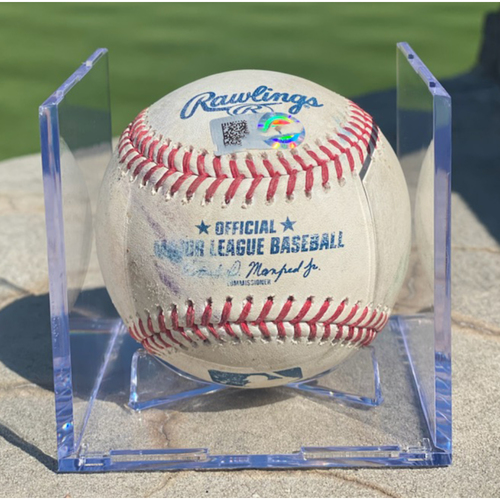 Photo of Game-Used Baseball - Pitcher: Carlos Estevez, Batter: Cody Bellinger (Triple to Charlie Blackmon) - April 2, 2021