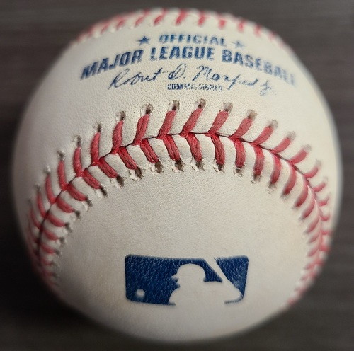 Photo of Authenticated Game Used Baseball: 2 RBI Double by Matt Olson against Alek Manoah (Sep 3, 2021 vs OAK). Top 5.