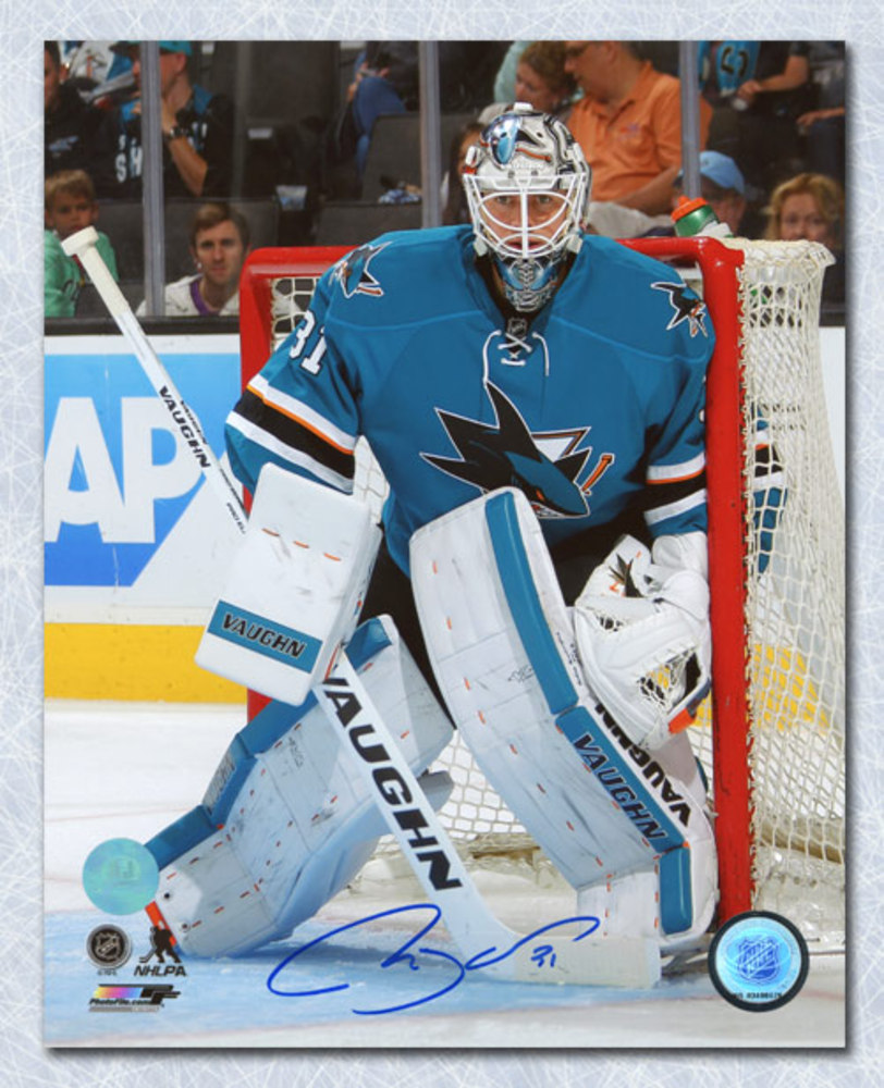 Martin Jones San Jose Sharks Autographed Goal Net Post Defence 8x10 Photo