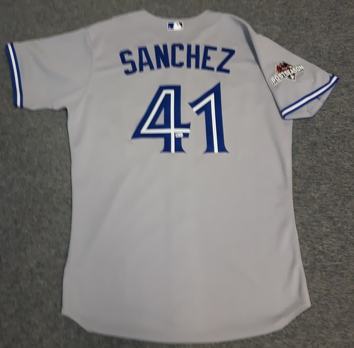 Photo of Authenticated Team Issued Jersey - #41 Aaron Sanchez (2015 Postseason). Size 46