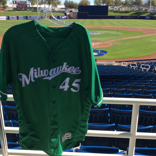 Photo of Jhoulys Chacin 2018 Team-Issued St. Patrick's Day Jersey