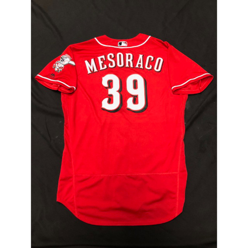 Photo of Devin Mesoraco -- Game-Used Red Alternate Jersey -- Worn During 2018 Season
