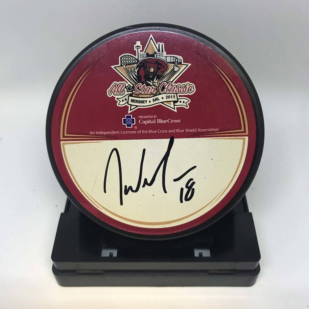 2011 AHL All-Star Classic Souvenir Puck Signed by #18 Jeremy Williams