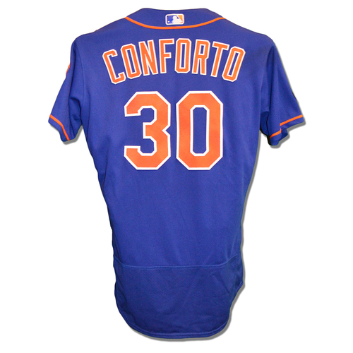 Photo of Michael Conforto #30 - Game Used Blue Alt. Home Jersey - Conforto Goes 2-5 - Mets vs. Braves - 8/5/18
