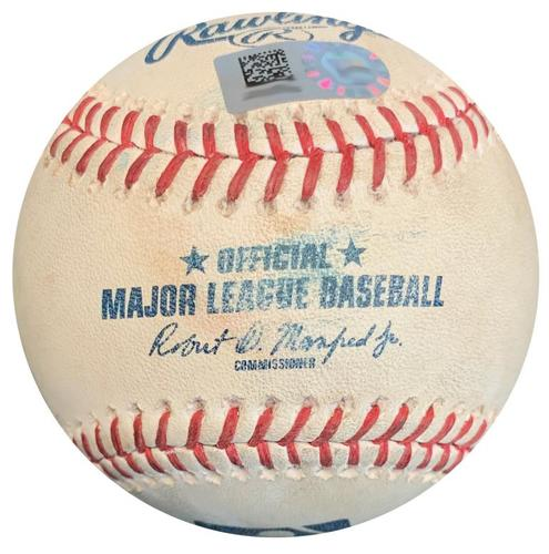 Photo of Game-Used Baseball from Pirates vs. Braves on 8/20/18 - Camargo Single, Albies Foul