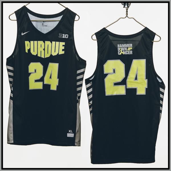 Photo of Purdue Basketball #24 Hammer Down Cancer Jersey, Worn By Grady Eifert
