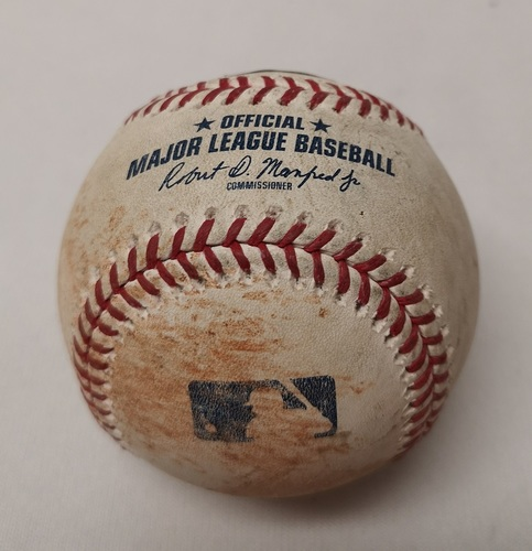 Photo of Authenticated Game Used Baseball - Eddie Rosario Single against Ryan Borucki (July 24, 2018 vs MIN). Top 4.
