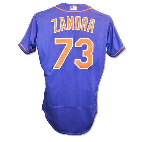 Photo of Daniel Zamora #73 - Game Used Blue Alt. Home Jersey - Mets vs. Marlins - 9/28/18