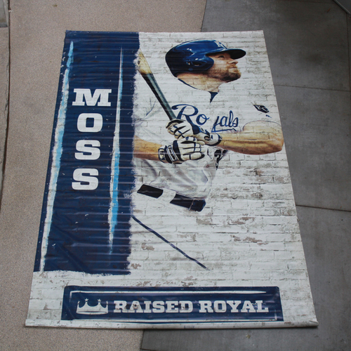 Photo of Extra Large Team-Issued Banner: Brandon Moss Raised Royal