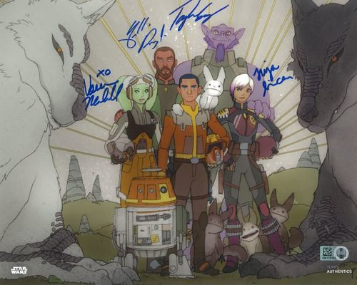 PREORDER Freddie Prinze Jr., Tiya Sircar, Vanessa Marshall and Taylor Gray As Kanan Jarrus, Sabine Wren, Hera Syndullar and Ezra Bridger 8X10 Autographed in Blue Ink Photo