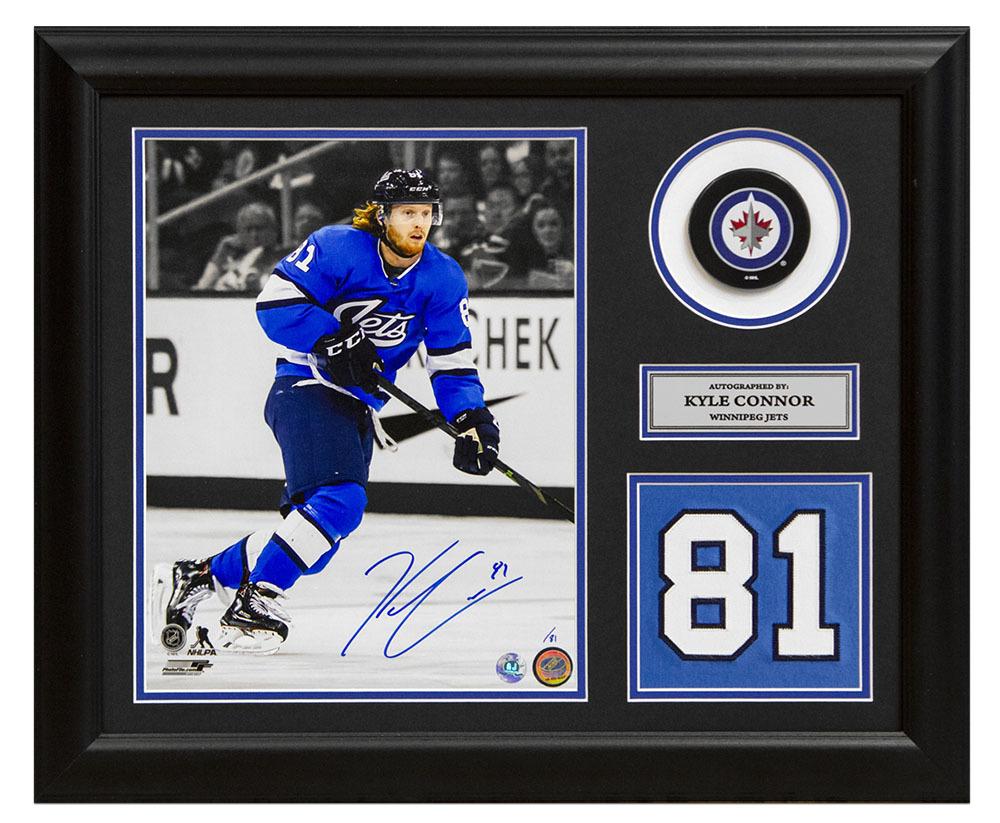 Kyle Connor Winnipeg Jets Signed Aviator Spotlight Jersey Number 19x23 Frame /81