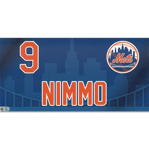 Photo of Brandon Nimmo #9 - Game-Used Locker Nameplate - Mets vs. Nationals - 4/4/19