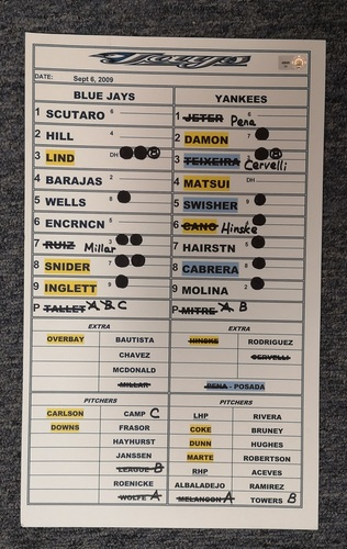 Photo of Authenticated Game Used Lineup Card - Sept 6, 09 vs NYY: Jeter was 3-for-3 with 1 SB