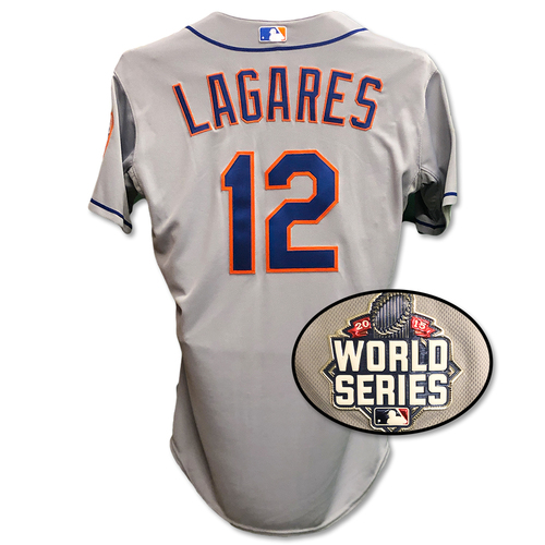 Photo of Juan Lagares #12 - Game Used Road Grey 2015 World Series Jersey - Worn Game 2 of 2015 World Series - Mets vs. Royals - 10/28/15