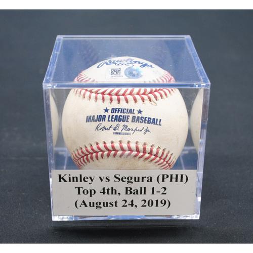 Photo of Game-Used Baseball: Tyler Kinley vs Jean Segura (PHI), Top 4th, Ball - August 24, 2019
