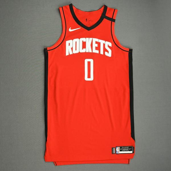 Image of Russell Westbrook - Houston Rockets - Game-Worn Icon Edition Jersey - Worn 2 Games - Recorded a Double-Double - 2019-20 NBA Season Restart with Soc...