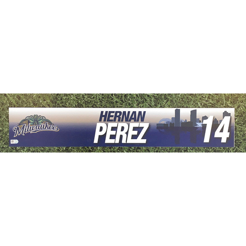 Photo of Hernan Perez 2017 Game-Used Locker Nameplate