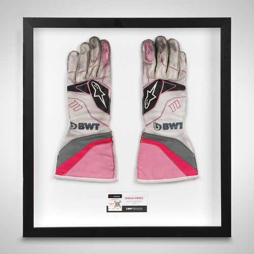 Photo of Sergio Perez 2020 Framed Race-worn Gloves