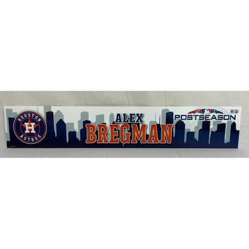 Photo of Alex Bregman Game-Used 2018 Postseason Locker Name Plate - 10/5 vs. CLE and 10/6 vs. BOS