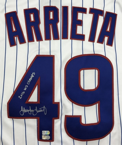 "Photo of Jake Arrieta Autographed ""2016 WS Champs"" Cubs Authentic Jersey"