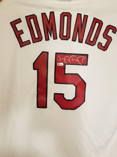 Photo of Jim Edmonds Autographed White Cardinals Jersey