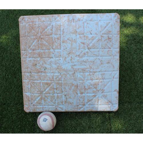 Game-Used Baseball and 1st Base: Andrew Benintendi 281st Career Hit (BOS @ KC - 7/8/18)