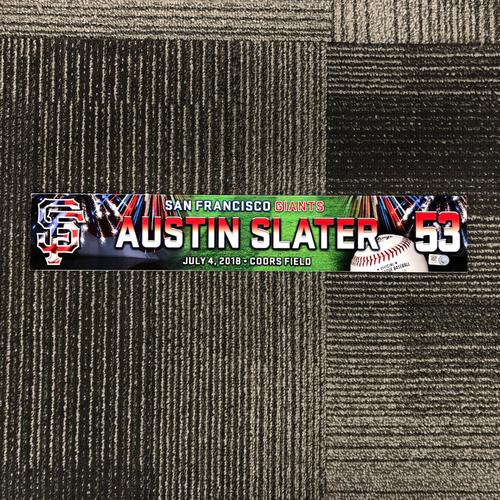 Photo of San Francisco Giants - 2018 4th of July Locker Tag - Austin Slater