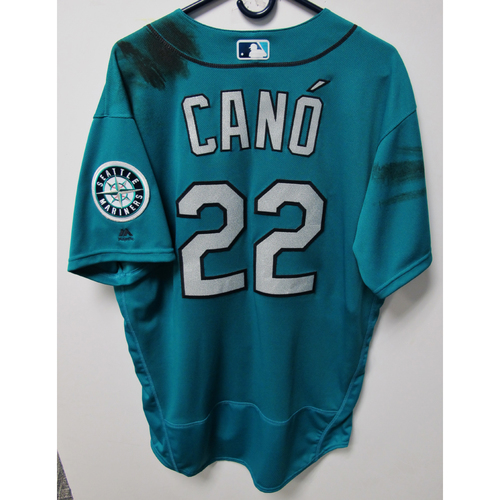 Photo of Robinson Cano Game-Used Green Jersey - Sep 7, 2018