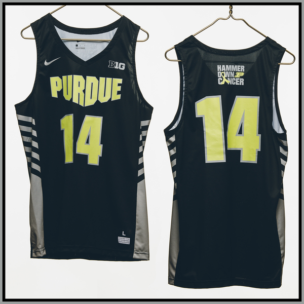 Photo of Purdue Basketball #14 Hammer Down Cancer Jersey, Worn By Ryan Cline