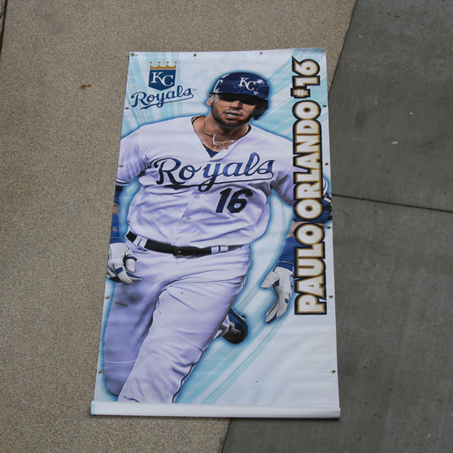 Photo of Large Team-Issued Banner: Paulo Orlando