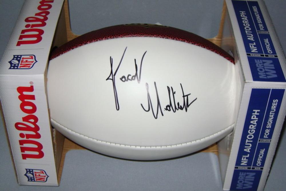 NFL - PATRIOTS JACOB HOLLISTER SIGNED PANEL BALL