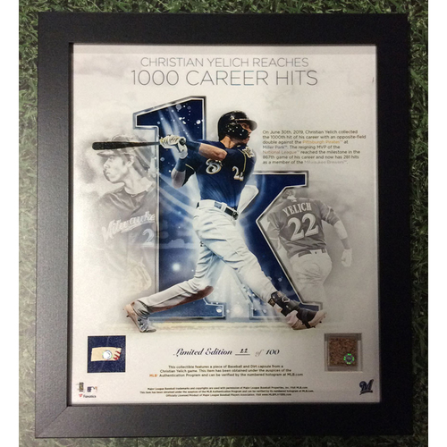 "Photo of Christian Yelich 2019 Commemorative ""1,000th Career Hit"" Framed Piece with Game-Used Dirt and Game-Used Baseball Swatch - Limited Edition #22 / 100"