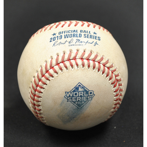 Photo of Game-Used Baseball: 2019 World Series - Game 3: Pitcher: Will Harris, Batter: Adam Eaton (Foul) - Bot 6
