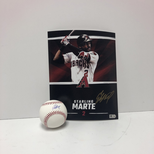 Photo of Starling Marte Autographed Baseball and 8x10 Photo
