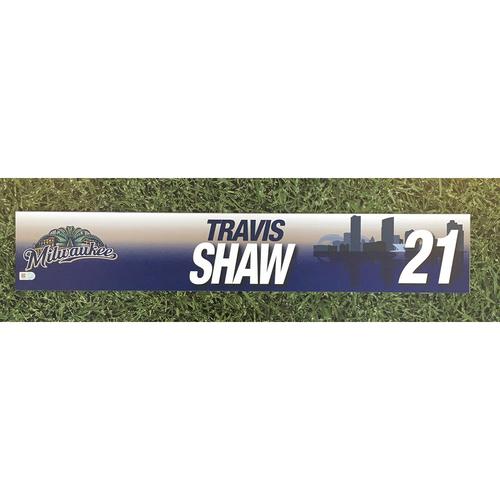 Photo of Travis Shaw 2017 Game-Used Locker Nameplate