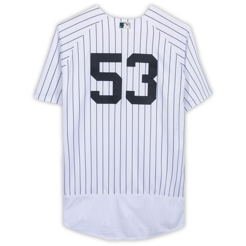 Photo of Phil Nevin New York Yankees Game-Used #53 White Pinstripe Jersey vs. Tampa Bay Rays on April 3, 2018 - Size 50