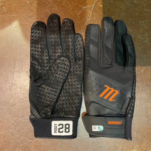 Photo of 2021 Team Issued Black & Orange Marucci Batting Gloves (Pair) - #28 Buster Posey
