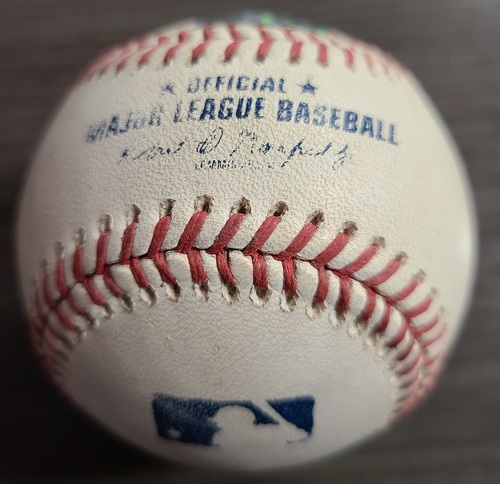 Photo of Authenticated Game Used Baseball: RBI Single by Matt Chapman against Nate Pearson (Sep 3, 2021 vs OAK). Top 7.
