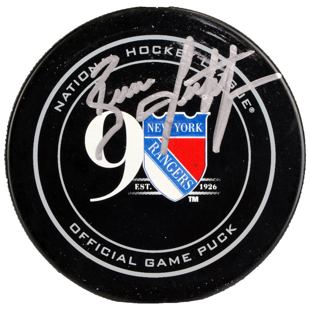 Brian Leetch New York Rangers Autographed 90th Anniversary Season Official Game Puck