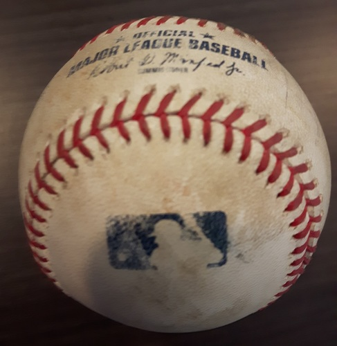Photo of Authenticated Game Used Baseball - August 17, 2017: RBI Double by Evan Longoria against Dominic Leone (Top 8)