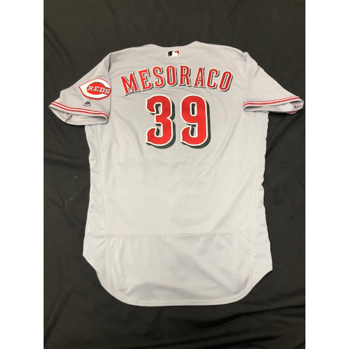 Photo of Devin Mesoraco -- Team-Issued Road Gray Jersey -- Worn During 2018 Season